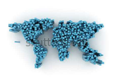 Stockfoto: Abstract · kubus · wereld · 3d · illustration · digitale · internet