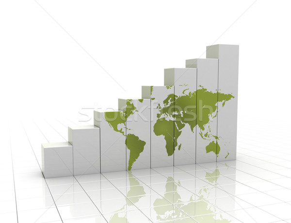 Graph rising with world map  Stock photo © jezper