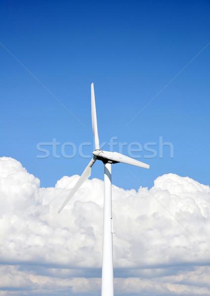 Szélturbina égbolt fehér természet technológia fém Stock fotó © jezper