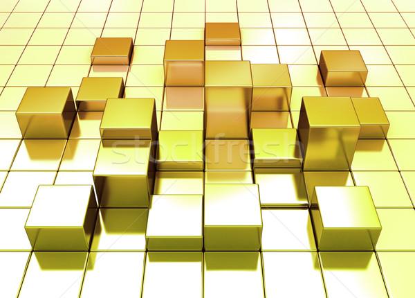 Absztrakt arany kockák kocka fény üzlet Stock fotó © jezper