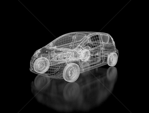 Drót keret autó modell 3D terv Stock fotó © jezper