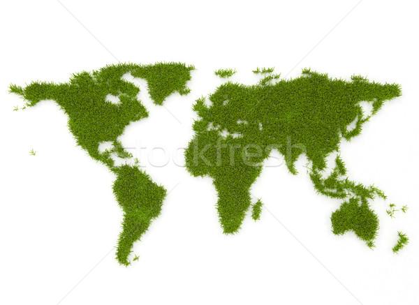 Világtérkép fű környezeti térkép Föld felirat Stock fotó © jezper