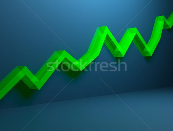 Zöld emelkedő grafikon kék fal pénz Stock fotó © jezper
