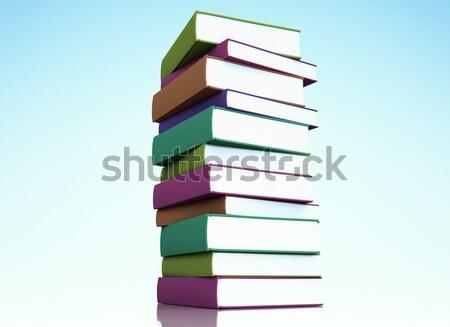 Books stack on green background. Stock photo © jezper
