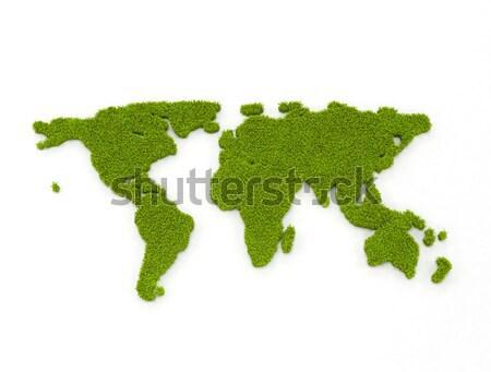 Zöld világtérkép globális zöld energia földgömb térkép Stock fotó © jezper