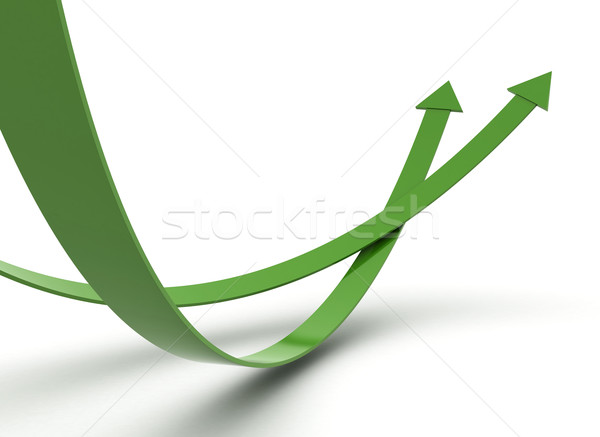 Stock photo: Green arrows illustration 3d render