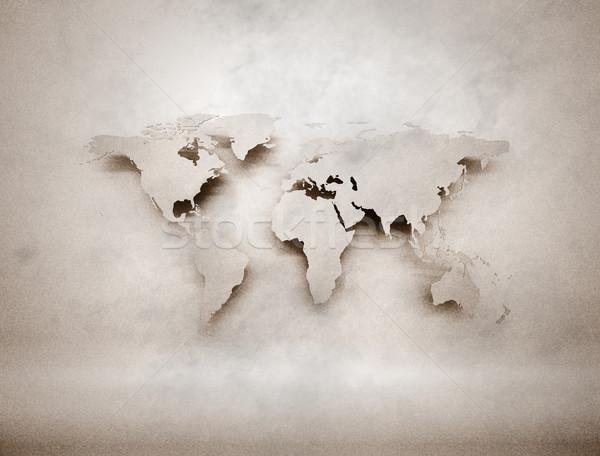 öreg klasszikus világtérkép illusztráció retro koszos Stock fotó © jezper
