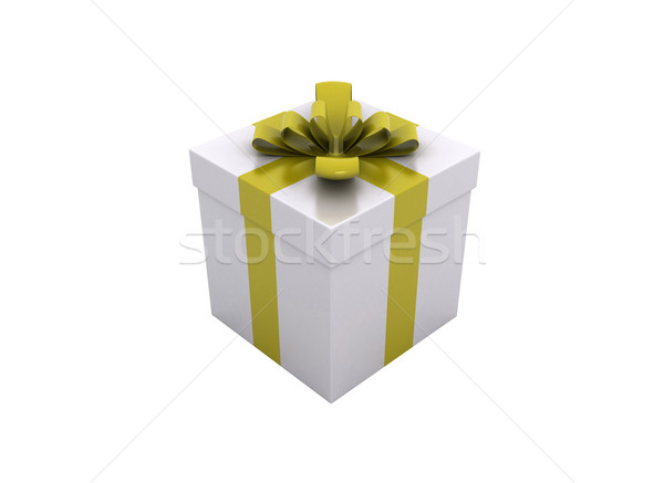 one white gift box with yellow ribbon and bow isolated  Stock photo © jezper