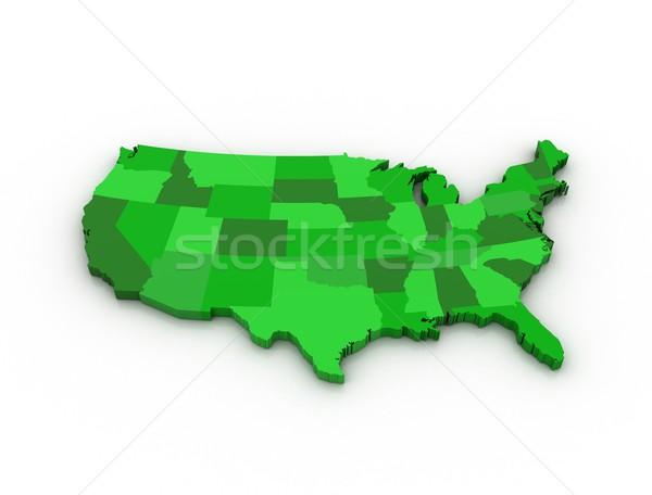 3D zöld térkép USA izolált fehér Stock fotó © jezper