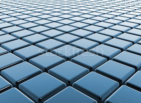 Kék kockák tükröződő üzlet textúra absztrakt Stock fotó © jezper