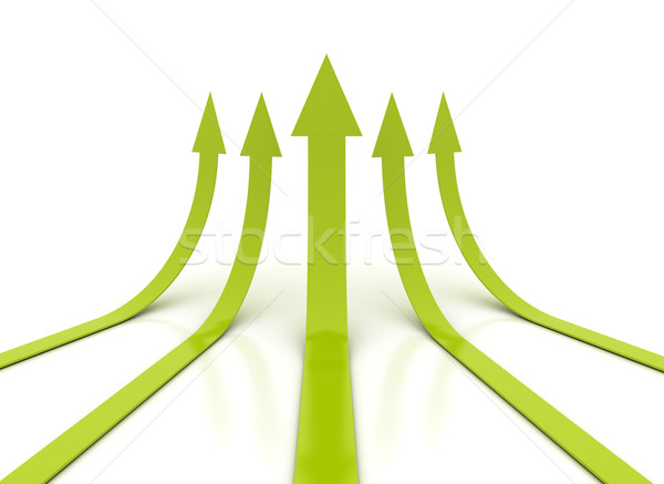 Aufgang Pfeile grünen Hintergrund Gruppe Farbe Stock foto © jezper