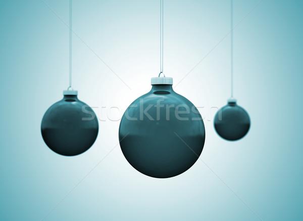 Karácsony golyók dísz fény tél éjszaka Stock fotó © jezper