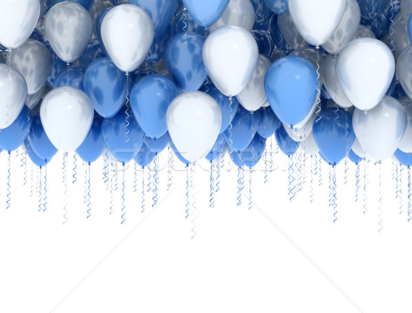 Fehér kék buli léggömbök izolált keret Stock fotó © jezper