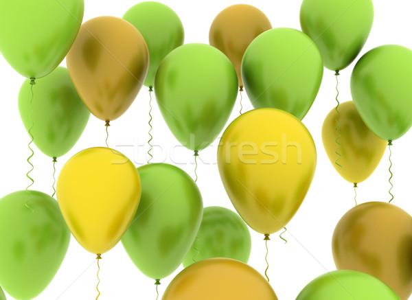 Ballonnen illustratie groene oranje partij achtergrond Stockfoto © jezper