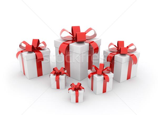 Piros ajándékdobozok különböző méret ajándékok fehér Stock fotó © jezper
