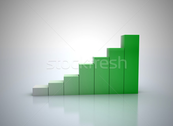 3D pénzügyi grafikon zöld üzlet pénz Stock fotó © jezper