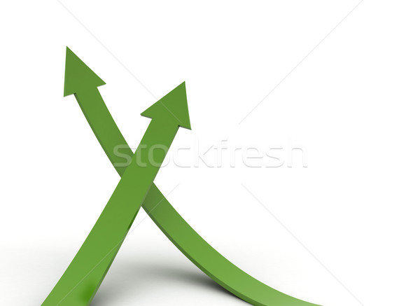 Arrows green rising isolated on white background  Stock photo © jezper