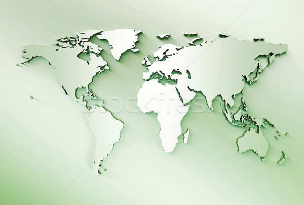 3D Embossed  World Map Stock photo © jezper