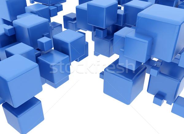 Kék kockák digitális illusztráció üzlet számítógép épület Stock fotó © jezper