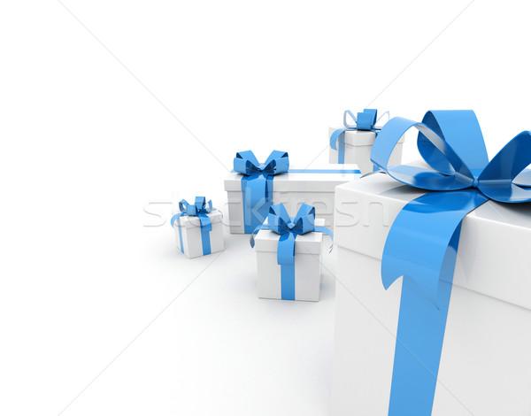 Ajándék doboz csoport ajándékok kék szalag fehér Stock fotó © jezper