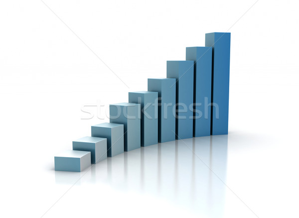Graph rising on white background  Stock photo © jezper