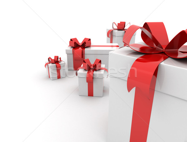 Ajándékdobozok vörös szalag fehér buli szeretet születésnap Stock fotó © jezper