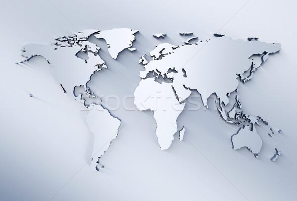 Világtérkép kék fémes absztrakt világ háttér Stock fotó © jezper