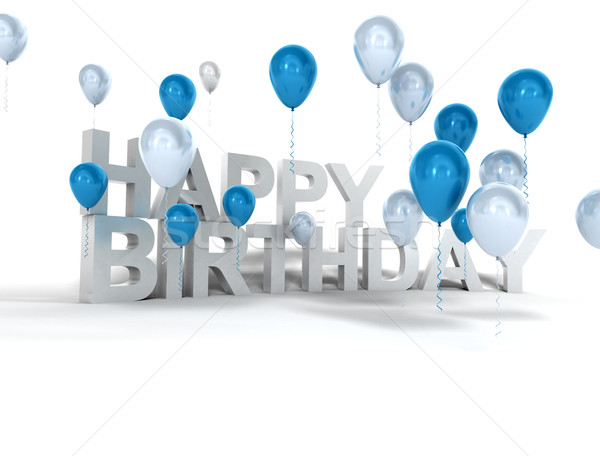 3D Rendering Of Balloons And The Words Happy Birthday