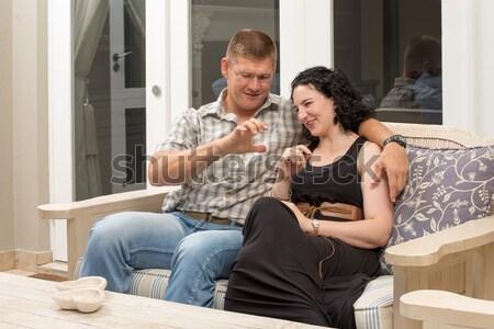 Birlikte veranda oturmak bank dışarı Stok fotoğraf © JFJacobsz