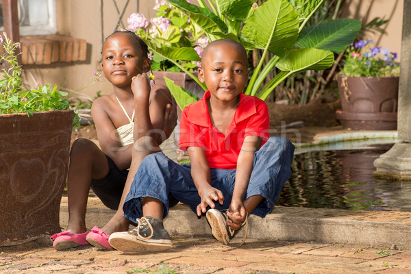 Gêmeo irmão irmã menino sapato lagoa Foto stock © JFJacobsz