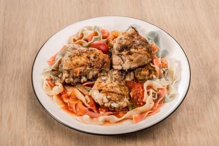 Fettuccine  And Chicken Tomato Dish Stock photo © JFJacobsz