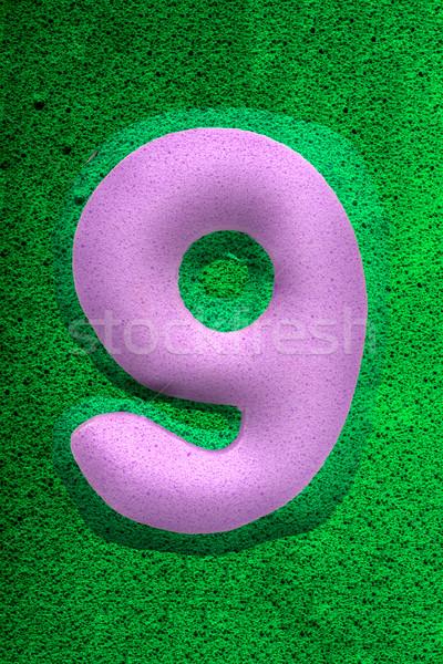 числа девять Purple губки подобно текстуры Сток-фото © JFJacobsz