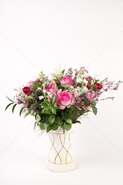 Bloem arrangement mooie vaas ingesteld witte Stockfoto © JFJacobsz
