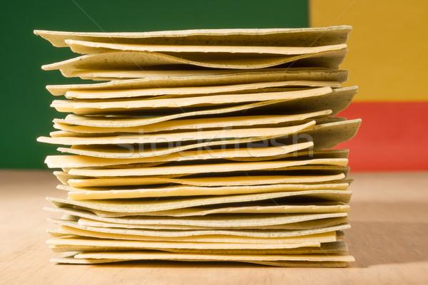 Egymásra pakolva lasagne darabok felső levelek tészta Stock fotó © JFJacobsz