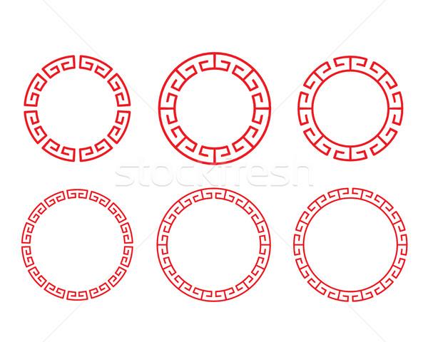 Clásico chino rojo círculo ventana Foto stock © jiaking1