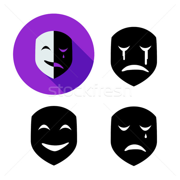 Stock photo: Set of emotion mask in silhouette style, vector