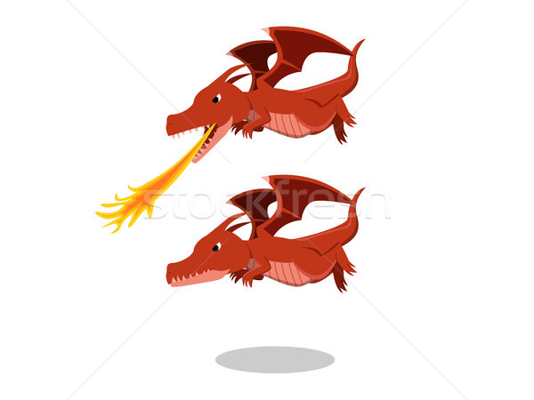 Photo stock: Colère · rouge · dragon · feu · souffle · cartoon