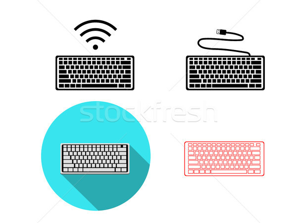 Set of wireless and USB Keyboard icons, vector Stock photo © jiaking1