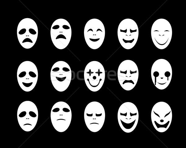 Set bianco fantasma faccia maschera stile Foto d'archivio © jiaking1