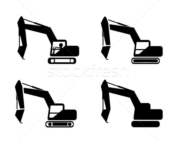 Szett kotrógép sziluett szimbólum stílus vektor Stock fotó © jiaking1