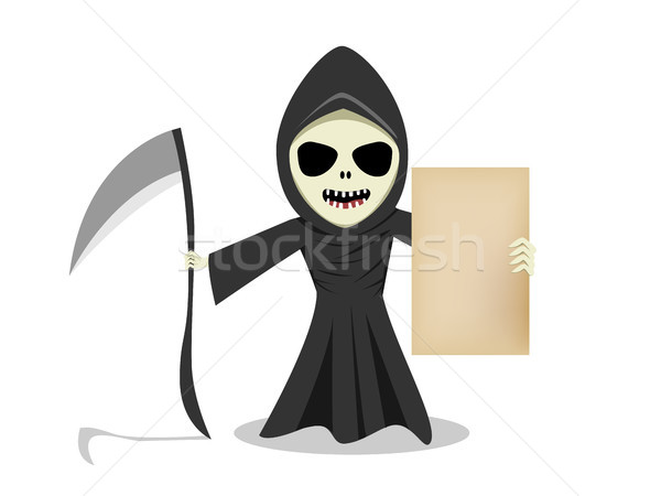 Grim reaper show empty old paper, vector Stock photo © jiaking1