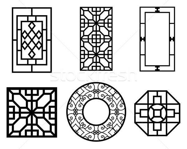 Set cinese finestra pattern vettore ornamento Foto d'archivio © jiaking1