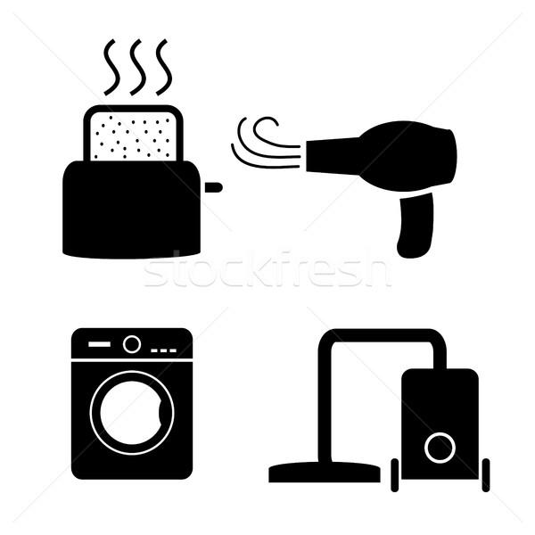 тостер фен стиральные пылесос иконки вектора Сток-фото © jiaking1