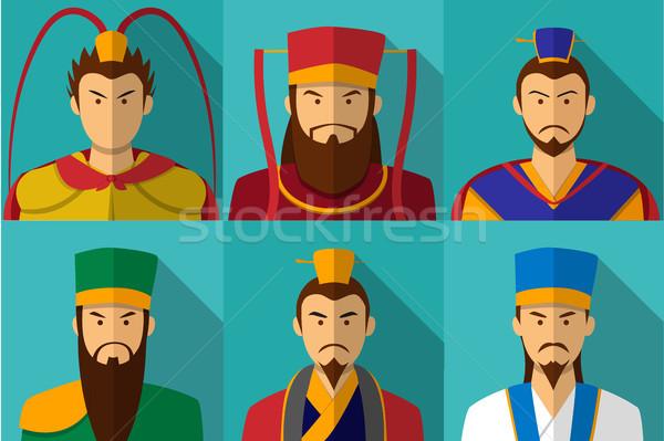 Szett három királyság karakter portré férfi Stock fotó © jiaking1