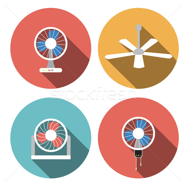 Stock photo: Set of fan icons in flat style, vector object
