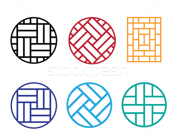 Set of Circle Chinese pattern window frame Stock photo © jiaking1