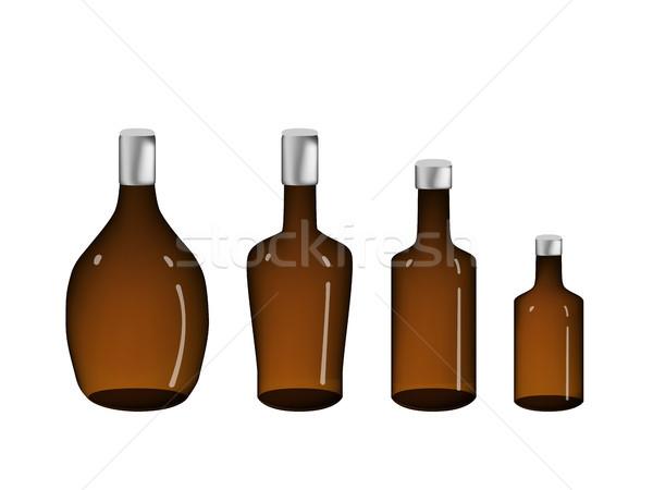 Marrón alcohol botella aislado blanco vector Foto stock © jiaking1