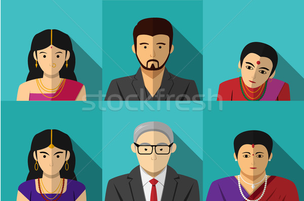 Set of modern Indian people in vector portait Stock photo © jiaking1