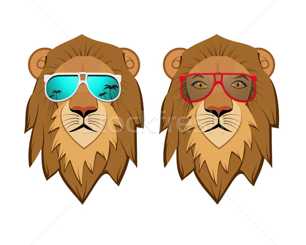 Stock photo: Hipster Lion with sunglasses