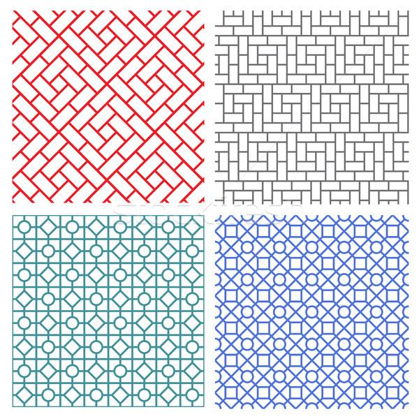 seamless mesh line pattern in korean style Stock photo © jiaking1